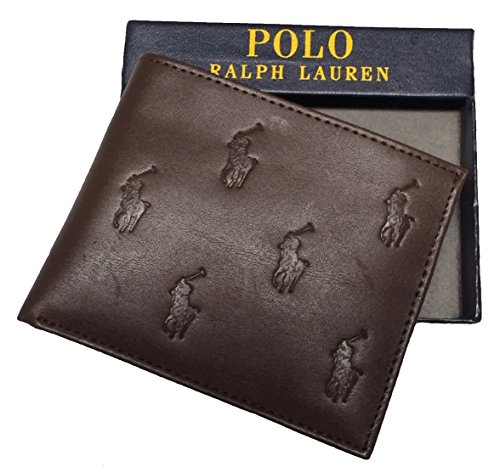 Polo Ralph Lauren Men's Passcase Leather Brown Bifold Pony All Over - Fold Wallet Pony Bi