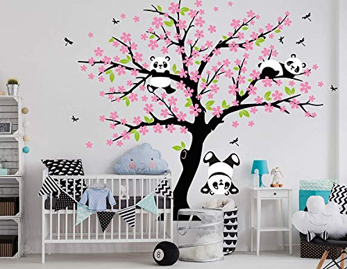 (LUCKKYY Three Playful Pandas Bear on Cherry Blossom Tree Wall Decal Tree Wall Sticker Nursery and Children's Room (Pink))
