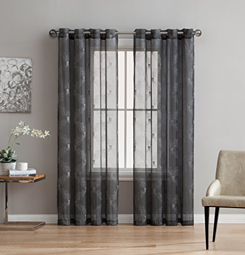 Melissa - Premium Quality Textured Semi-Sheer Embroidered Curtain - 100% Polyester Fabric - Linen Look - Fashionable Design - Variety of Colors (1 Panel 54