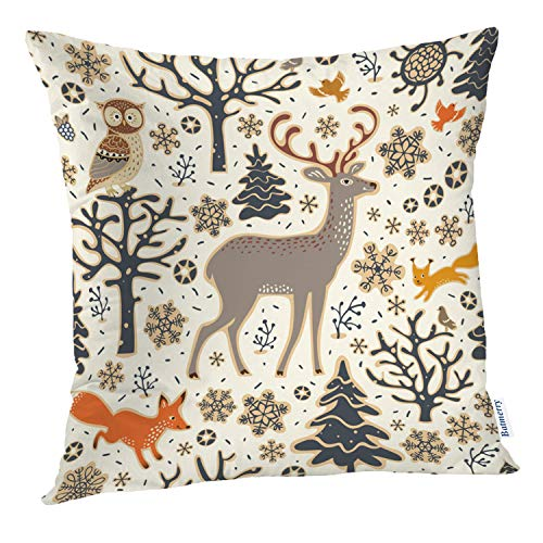 Batmerry Deer Pillow Cover 18x18 inch,Foxes and Deer Woodland Animals Pattern Double Sided Throw Pillow Covers Sofa Cushion Cover Lumbar Pillowcase (Bath Squirrel Woodland Bird)