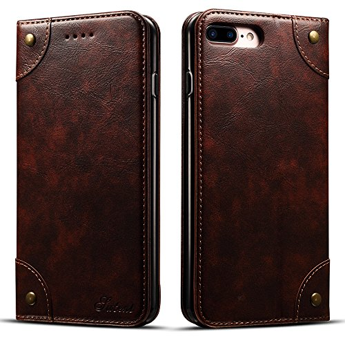 Iphone 6/6s Leather Wallet Phone Case Flip Protective Card Holder Cover Kickstand Folio Cover Coffee Case - Folio Watch