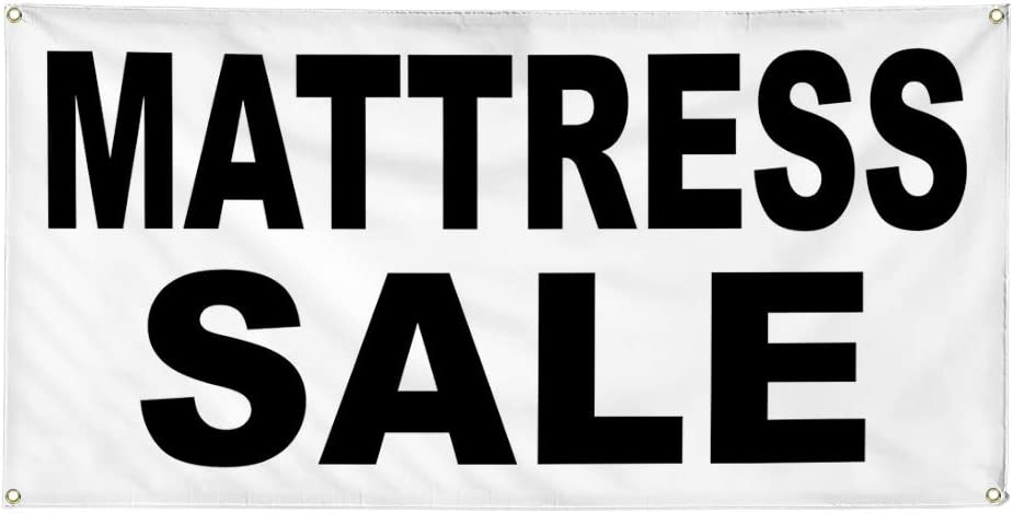 Vinyl Banner Multiple Sizes Mattress Sale Black Business Outdoor Weatherproof Industrial Yard Signs 10 Grommets 60x144Inches