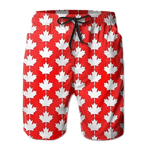MYKJ Canada Flag Maple Summer Casual Breathable Board Shorts Swim Trunks Drawstring Striped Side (Canada Fit Shorts)