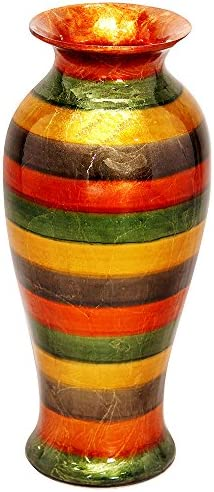 Heather Ann Creations Bohemian Decorative Ceramic Vase Foiled and Lacquered With Porcelain and Water Resistant, 21.2 , Striped