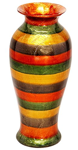 Striped Ceramic (Heather Ann Creations Bohemian Decorative Ceramic Vase Glazed With Porcelain and Water Resistant, 21.2