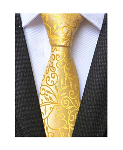 - Men Handmade Yellow Gold Silk Ties Fashion Floral Wedding Party Designer Necktie