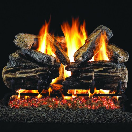 Charred Split Vented Natural - Peterson Real Fyre 36-inch Charred Split Oak Log Set With Vented Natural Gas G45 Burner