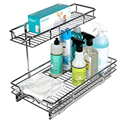 Kitchen Richards Homewares 2-Tier Under Sink Pull-Out Sliding Shelf for Kitchen 12.50-Inch Wide Cabinet Opening, 11 W x 21 D x… pull-out organizers