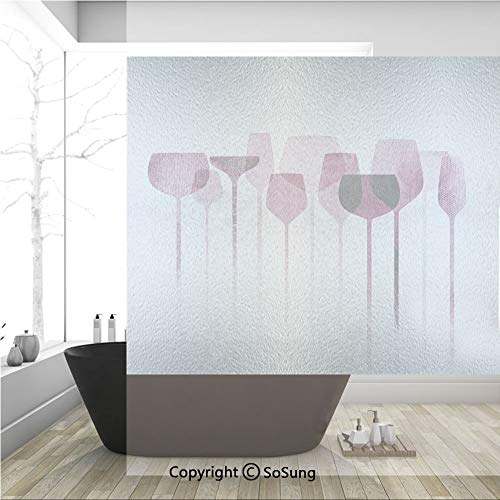 3D Decorative Privacy Window Films,Conceptual Collage Artwork with Paper Textured Party Glasses Alcohol Drink Print Decorative,No-Glue Self Static Cling Glass film for Home Bedroom Bathroom Kitchen Of