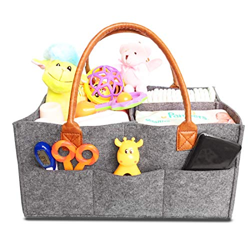 Baby Diaper Caddy Organizer - Baby Shower Gift Basket for Boys Girls - Diaper Travel Tote Bag - Nursery Storage Bin for Changing Table - Large Portable Car Travel Caddy - 15 x 10.5 x 7 Inch, Grey