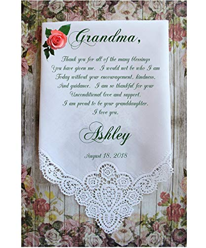 Grandma Handkerchief gift from the Bride-Weddings-PRINT-CUSTOMIZED-Wedding Hankies-Grandmother Gift-Grandma Hankerchief-Bride GiftChoCA[A10]
