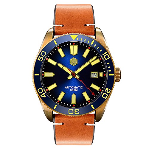 San Martin Men's Automatic Watch Bronze Case Ceramic Bezel Sapphire Glass 30ATM Water - Bronze Men Watches
