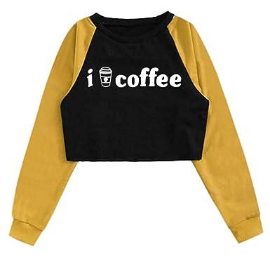 K-Youth i Like Coffee Patchwork Sudaderas Adolescentes Chicas ...
