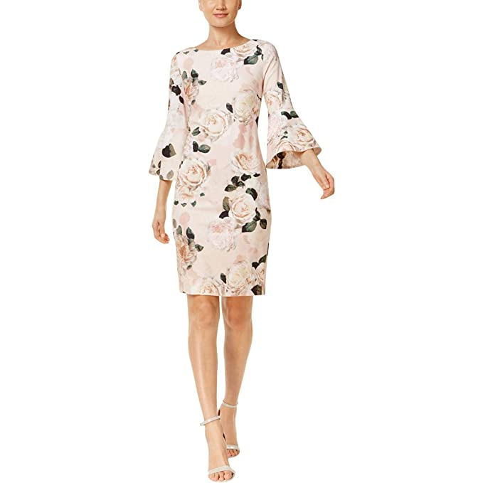 9e8e9034686 Calvin Klein Womens Floral Print Bell Sleeve CD8C733E Blush Multi 14 One  Size