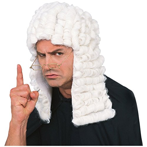 White Judge Wig Costume Accessory (Judge Robes Costume)