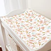 Carousel Designs Pink Hawaiian Floral Changing Pad Cover - Organic 100% Cotton Change Pad Cover - Made in The USA