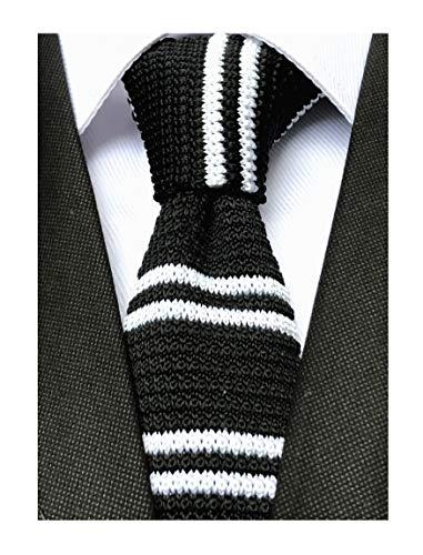 Men Big Boys Black and White Retro Silk Knitted Ties Stylish Textured Novelty Necktie For Groomsmen ()