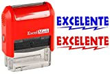 EXCELENTE - ExcelMark Self-Inking Two-Color Rubber Spanish Teacher Stamp - Perfect for Grading Homework - Red and Blue Ink