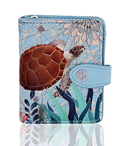 (Shagwear Original Designs Small Zipper Bi-Fold Women's Wallet (Sea Turtle-Sky Blue))