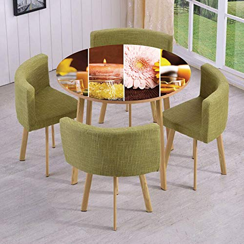 iPrint Round Table/Wall/Floor Decal Strikers,Removable,Aromatic Collage with Gerbera and Candles Exotic Asian Body Therapy and Treatment,for Living Room,Kitchens,Office Decoration (Bench Galaxy Therapy)