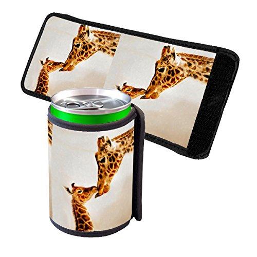 (Giraffe Kisses - Insulated Neoprene Beverage Can Beer Bottle Drink Cooler Sleeve)