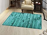 Timber Outdoor Furniture smallbeefly Turquoise Door Mats Area Rug Wall of Turquoise Wooden Texture Background and Antique Timber Furniture Artful Print Floor mat Bath Mat for tub Blue