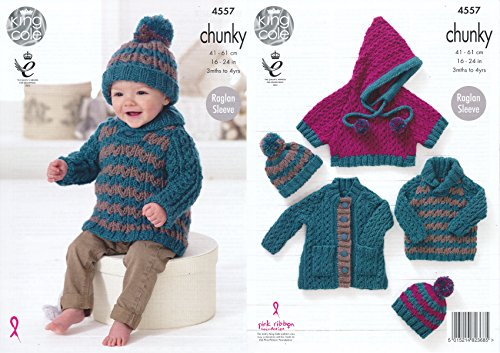 King Cole Baby Chunky Knitting Pattern Raglan Sleeve Coat Sweater Poncho & Hat Set (4557) by King - Knitting Coats Patterns Sweater