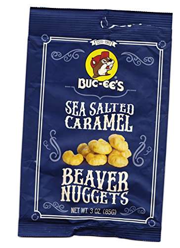 Buc-ees Beaver Nuggets Sea Salted Caramel Sweet Corn Puff Snacks Texas Bucees (Pack of 8 Bags) ()