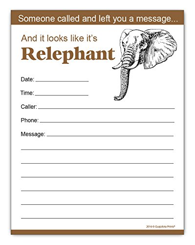 Message Notepads (Funny Elephant Phone Messages Notepad, Office Gift Idea 4.25 x 5.5, 50 Sheets)
