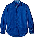 Robert Graham Men's Diamante Long Sleeve Shirt, Cobalt, Large