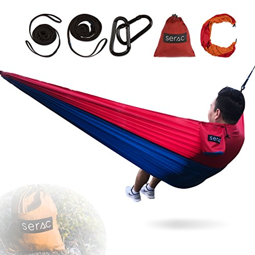 Serac [Durable Hammock & Strap Bundle] Classic Portable Single Camping Hammock with Suspension System - Perfect for The Backpack, Travel and Camping (Lakeside Blue/Red)