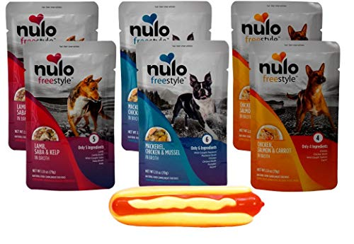 Nulo Freestyle Grain Free Gourmet Natural Dog Food Complement 3 Flavor Variety 6 Pouch with Squeaker Toy Bundle, 2 Each: Lamb Saba Kelp, Mackerel Chicken Mussel, Chicken Salmon Carrot (2.8 Ounces)