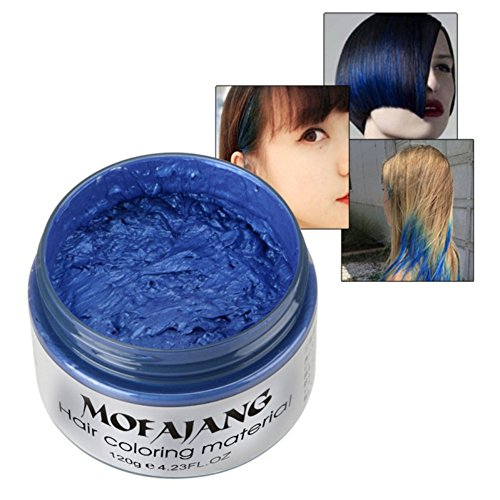 SUNSENT Hair Coloring Dye Wax, Profession Hair Styling Products Temporary Hair Cream,Natural Blue Hairstyle Pomade -