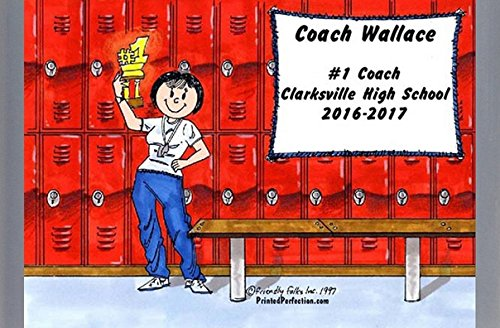 Personalized Friendly Folks Cartoon Side Slide Frame Gift: Coach - Female Great for school, professional sports league, weekend coach