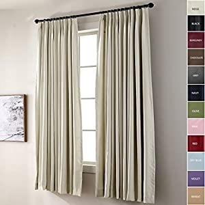 ChadMade Pinch Pleated Curtain Solid Thermal Insulated Blackout Extra Wide Patio Door Panel For Traverse Rod and Track, Beige 120W x 84L Inch (1 Panel)