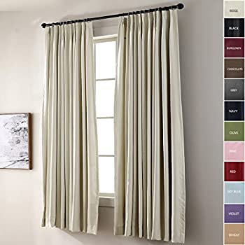 ChadMade Pinch Pleat 100W X 84L Inch Solid Thermal Insulated Blackout Patio  Door Curtain Panel Drape
