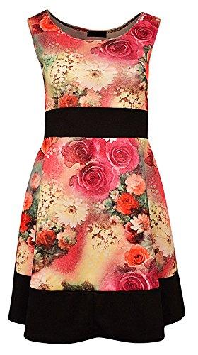Damen Plus Größe Blumenmuster Sleeveless Kurzkleid Grün/Pink fDQ5mxFEef