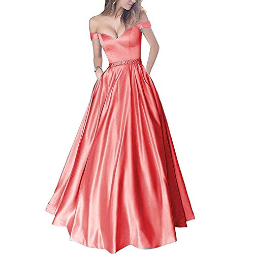 Lemai Off Shoulder Beaded Satin V Neck Corset Long Prom Dresses Evening Gowns Coral US 12