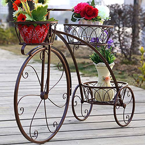 Bicycle Iron Flower Stand, 3-Layer Flower Shelf Balcony Plant Indoor Outdoor Plant Plant Potted Rack with Wheels Scroll Folding Shelves Garden Home Decor,Brass