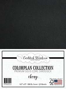 "EBONY BLACK Cardstock 8.5"" x 11"" Premium 100 lb. Cover - 25 Sheets from Cardstock Warehouse"