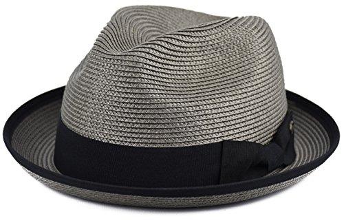 Urbanhatshop Mens Summer Fedora Hat Poly Braid Bound Edge Crushable Porkpie Hat (Gray, - Braided Edge Mens