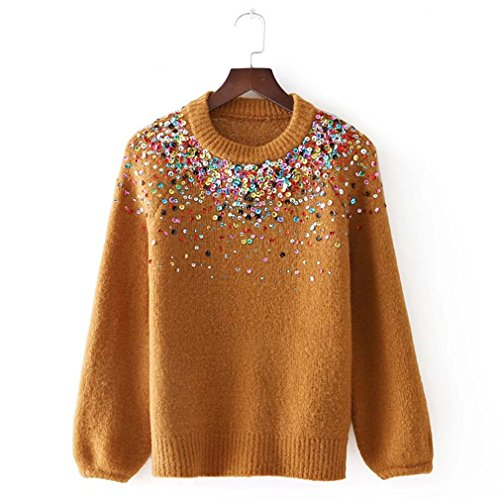 Sequins Embroidery Knit Sweater Women Fashion Long Sleeve O