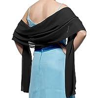 TMS Soft Chiffon Satin Scarve Shawls Wraps for Evening Party Scarf Bridal Wedding