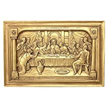 Design Toscano EU31507 Jesus and The Apostles' Last Supper Wall Sculpture, Gold