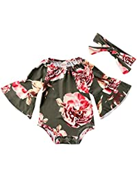 Newborn Baby Girl Floral Bodysuit+Headnband 2pcs Summer...