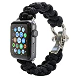 PSKOOK Replacement for Apple Watch Band 42mm Paracord Band with Elastic Rope Apple Watch Series 3/2/1 (Black L)