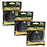 LOCK LACES for Boots (Elastic No Tie Boot Laces) (Pack of 3) (Black)