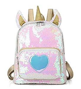 Bling Sequins Unicorn Backpack for Girls Travel Shining Backpack Casual Daypack for Women and Student