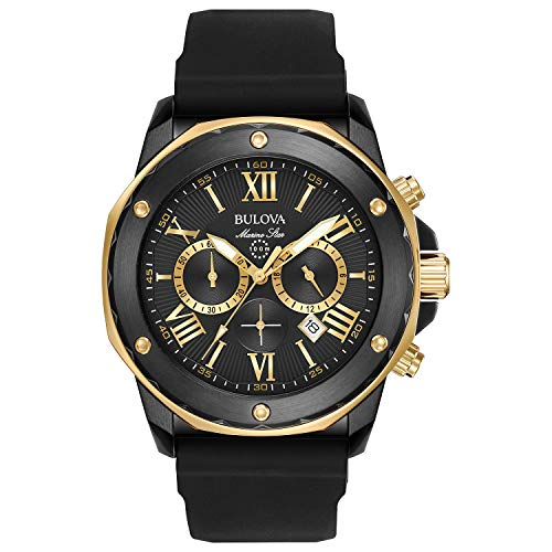 Bulova Men's Quartz Stainless Steel and Silicone Casual Watch, Color:Black (Model: 98B278) -