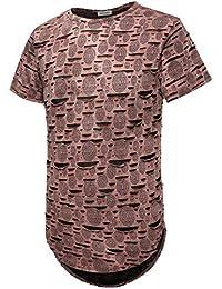 Mens Hipster Hip Hop Graphic Crewneck Hole T-Shirt